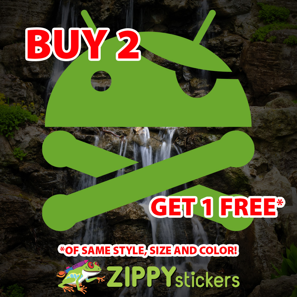 Android Rooted Decal - Vinyl Decal Sticker - Android Crossbones - Android Pirate