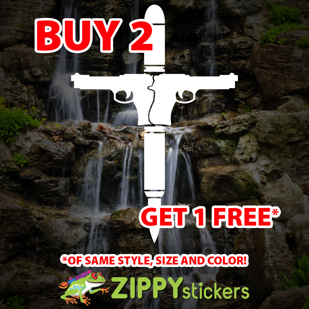 Guns Bullets Cross Decal - Vinyl Decal Sticker - Guns Bullets Crucifix - Gun Vinyl Decals