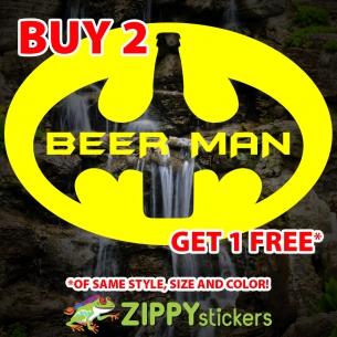 BeerMan Decal - Vinyl Decal Sticker - Batman Parody Beer man Logo